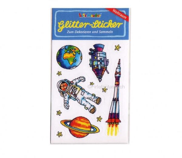 Glitter-Sticker Weltraum