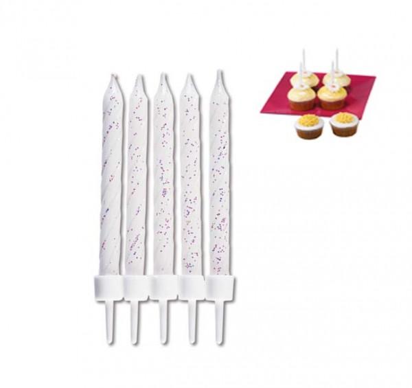 Geburtstagskerzen Weiß mit Glitter