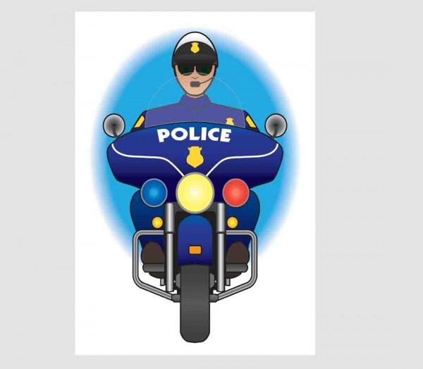 Kuchenaufleger DIN-A-4 Polizeimotorrad