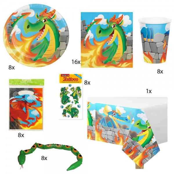 Partyset-Set Drachen für 8 Kinder