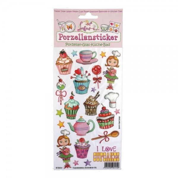 Porzellan-Sticker Cupcake