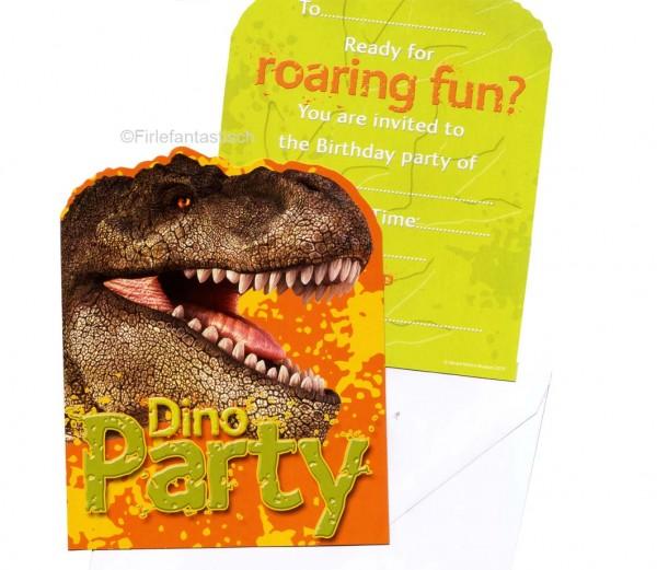 Einladungskarten Dinowelt mit Umschlag 6 Stück