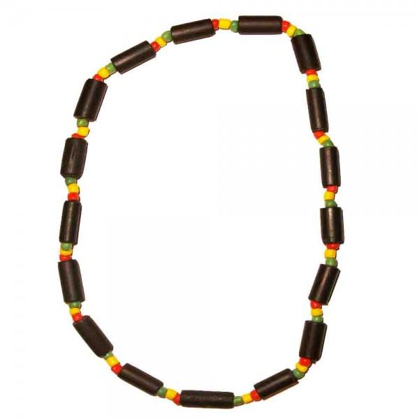 Halskette mit Holzröhrchen und bunten Perlen