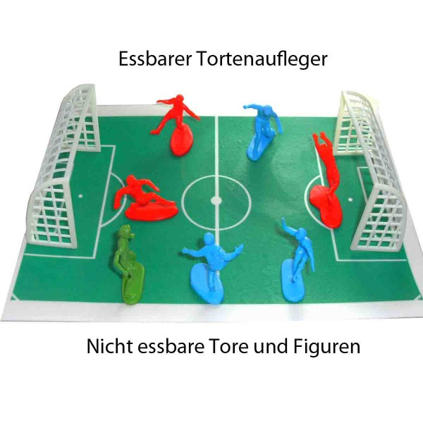Essbares Fußballfeld für den Fußballkuchen mit Süielfiguren