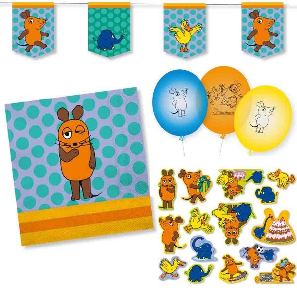 Die Maus Dekoset Servietten, Wimpelkette, Konfetti und Ballons