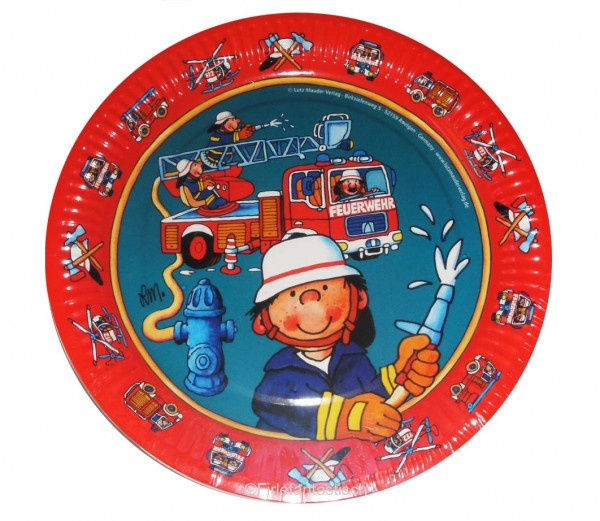Lustige Teller für den Kindergeburtstag Feuerwehr