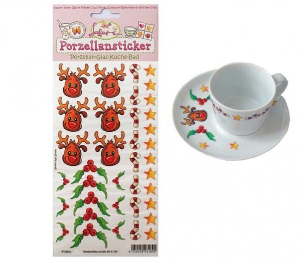 Porzellan Weihnachten.Porzellan Sticker Weihnachten