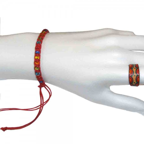 Wachs-Cotton-Armband mit Perlen