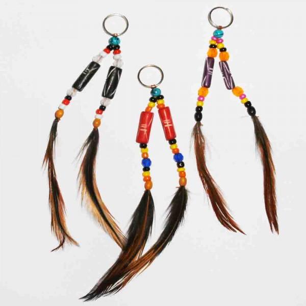 Indianer-Schlüsselring mit Perlen und Federn