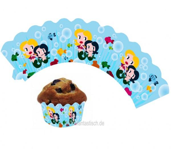 Cupcake Banderolen Meerjungfrau 12St.