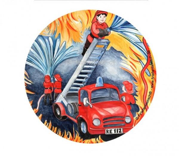 Essbarer Tortenaufleger Feuerwehr