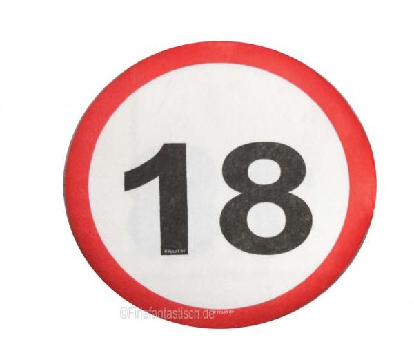Runde Servietten mit Zahl 18