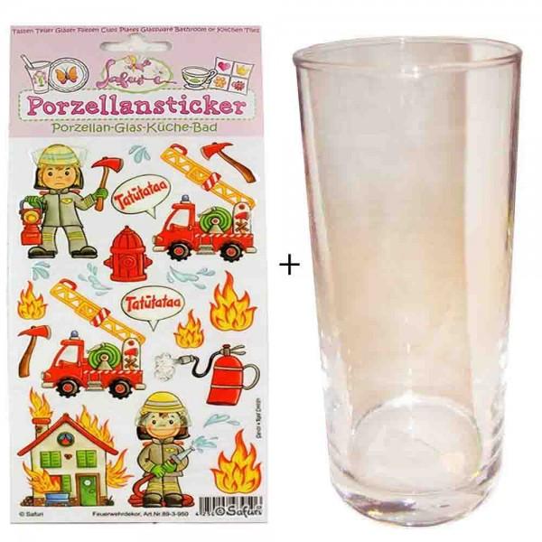 Porzellan-Sticker Feuerwehr + Trinkglas