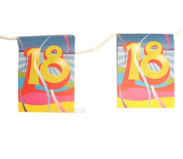 Mini-Flaggenkette mit Zahl 18