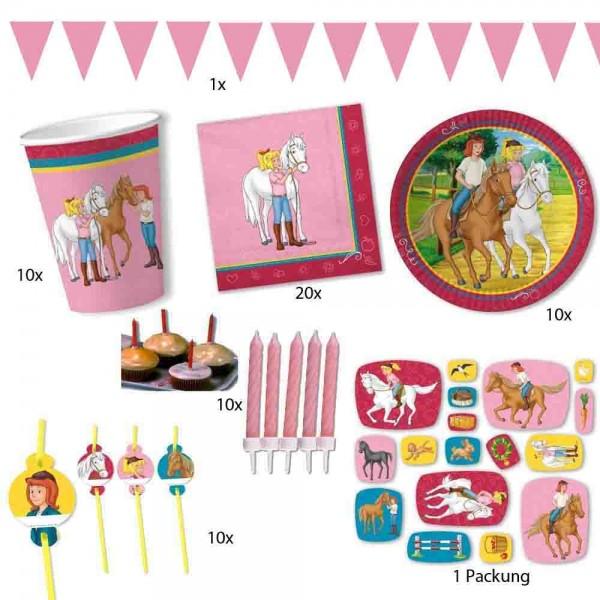 Bibi und Tina Partyset für 10 Kinder mit rosa Girlande 10m