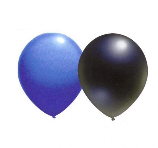 Ballons Blau/Schwarz 8 Stück
