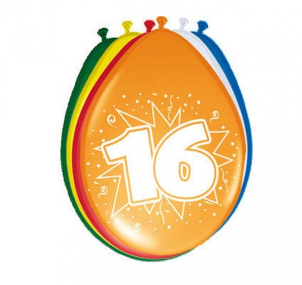 Luftballons bunt mit Zahl 16
