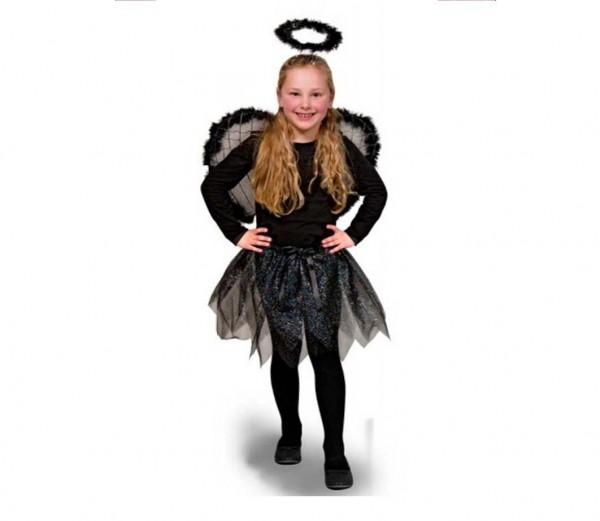 kost m schwarzer engel 3tlg karneval m dchen verkleidung. Black Bedroom Furniture Sets. Home Design Ideas