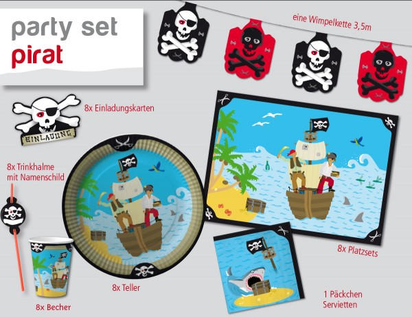 Partybox Pirateninsel für 8 Kinder