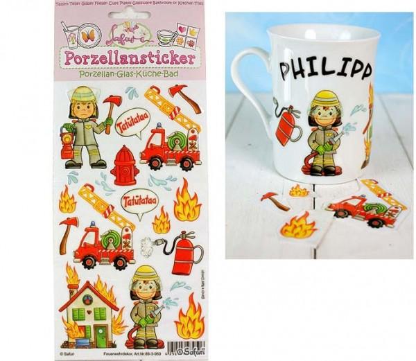Porzellan-Sticker Feuerwehr