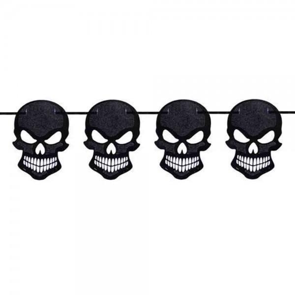 Schwarze Totenkopf-Girlande