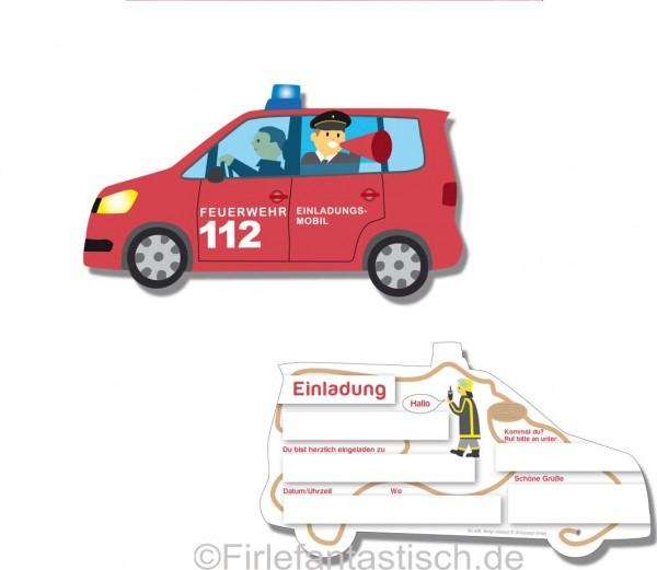Feuerwehrauto-Einladungen