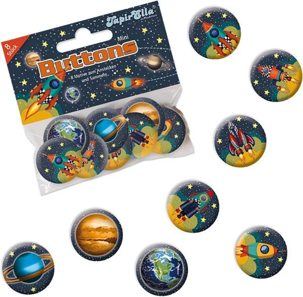 Weltraum Mini-Buttons 8 Stück