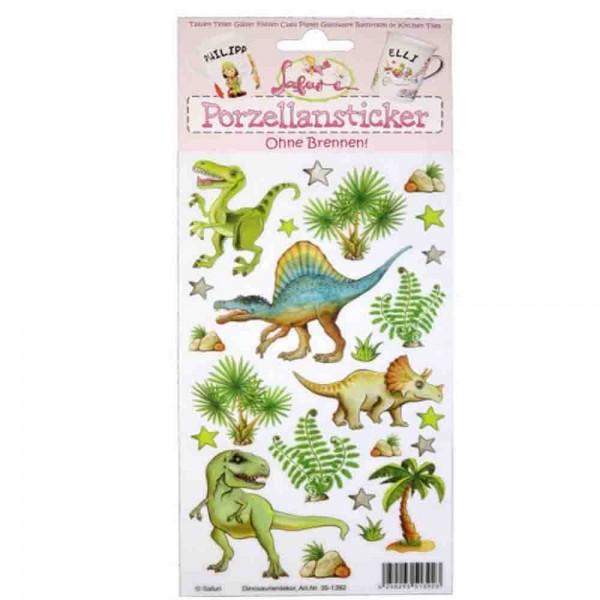 Porzellansticker für ein Dinoglas