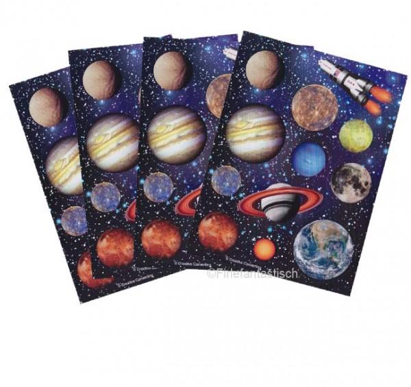 4 Bögen Weltraum-Sticker