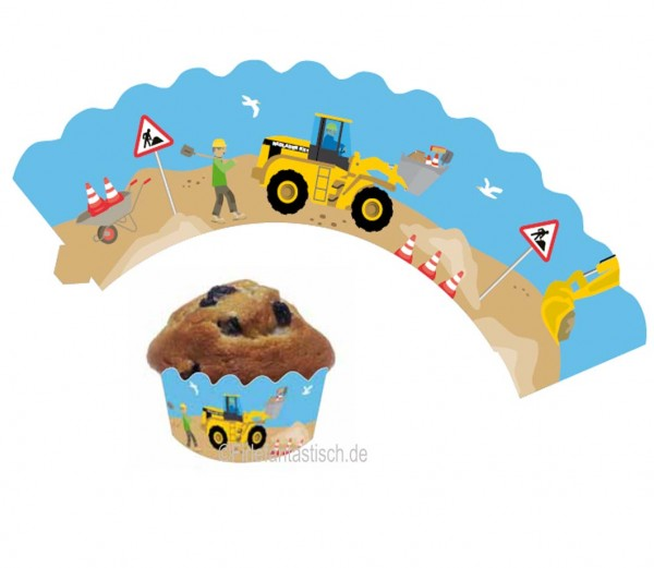 Cupcake Banderolen Bauarbeiter 12St.