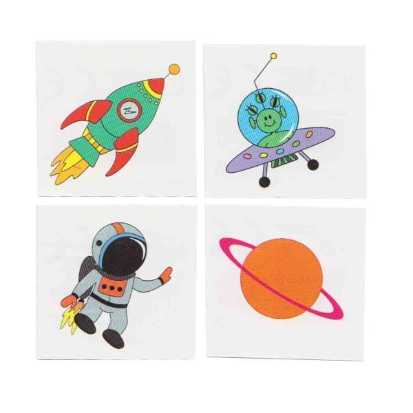 4 Weltraum-Tattoos im Set