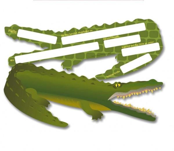 Krokodil-Einladungen 6St.