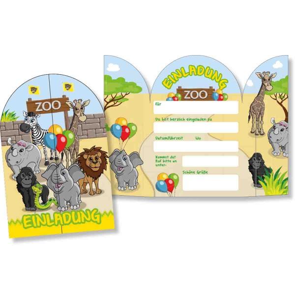 8 Einladungs-Klappkarten für den Kindergeburtstag zum Thema Zoo