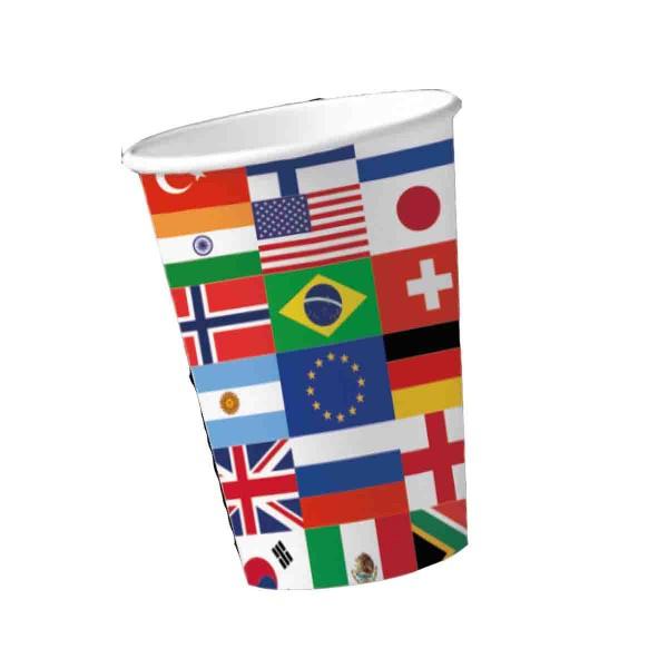 Partybecher für die Mottoparty Länderflaggen