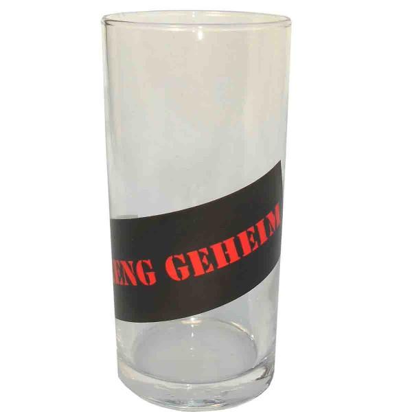 Trinkglas mit Papiersticker Streng Geheim