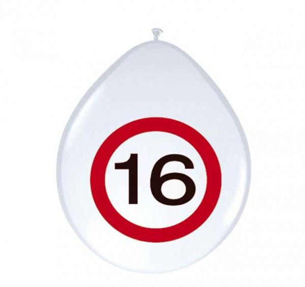 Luftballons Verkehrsschild mit Zahl 16