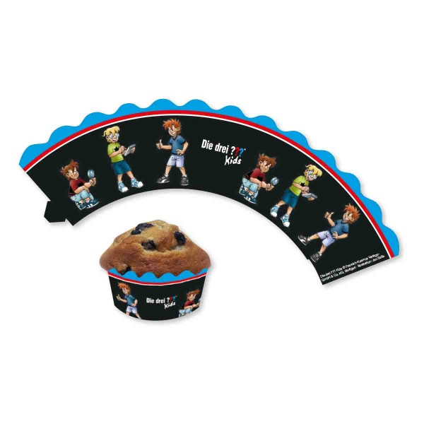 Süße Cupcake-Banderolen zum Thema Die Drei ???