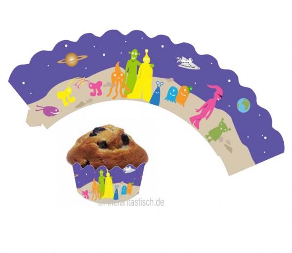 Banderolen für Weltraum-Muffins