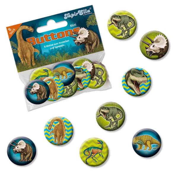 Packung mit 8 Dinosaurier Buttons
