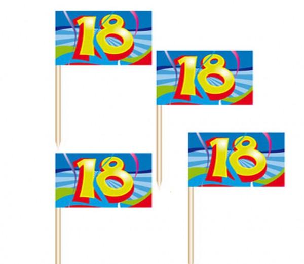 Fähnchen-Spicker mit Zahl 18