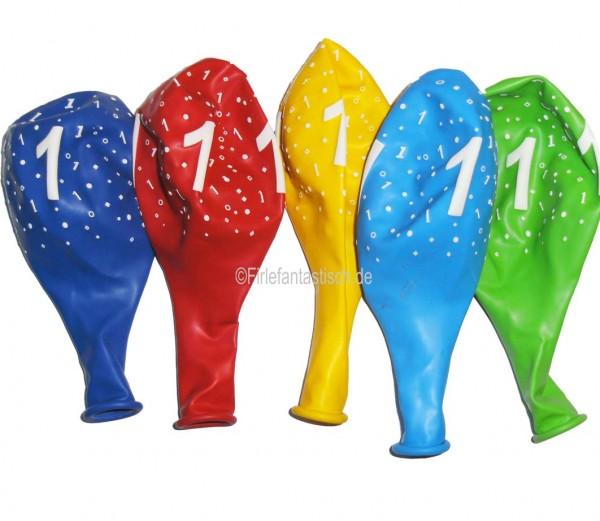 Latexballons für den Zahlengeburtstag von 1-9