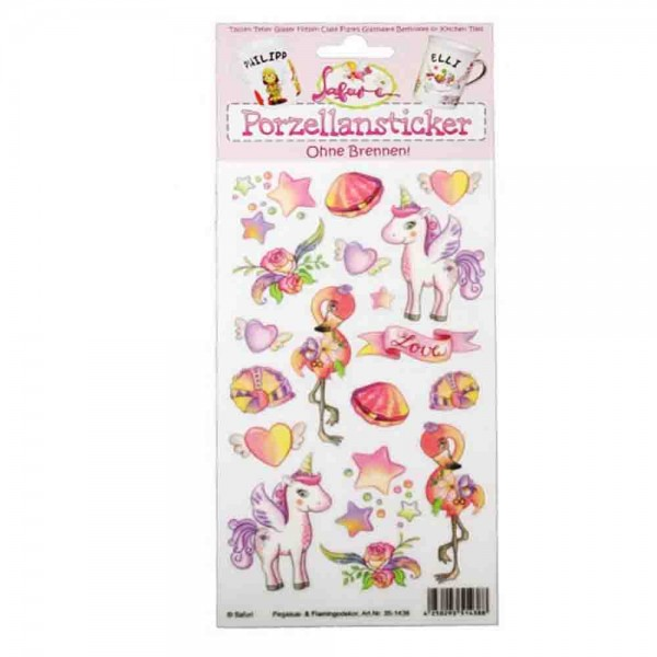 Porzellan-Sticker Pegasus mit Flamingo