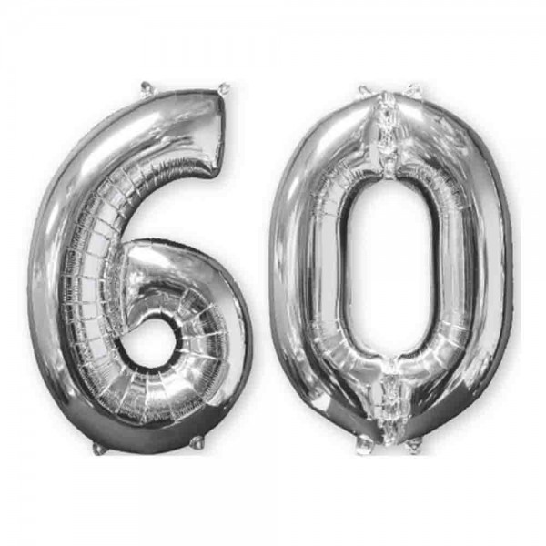 Folienballon Zahl 60 Silber 2tlg.