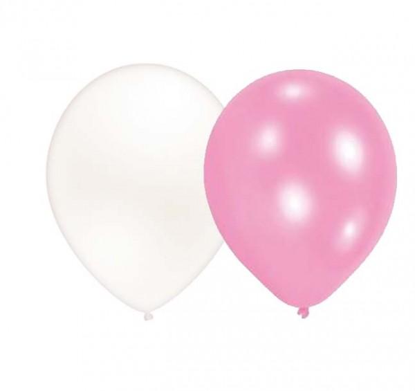 Ballons Weiß/Rosa 8 Stück
