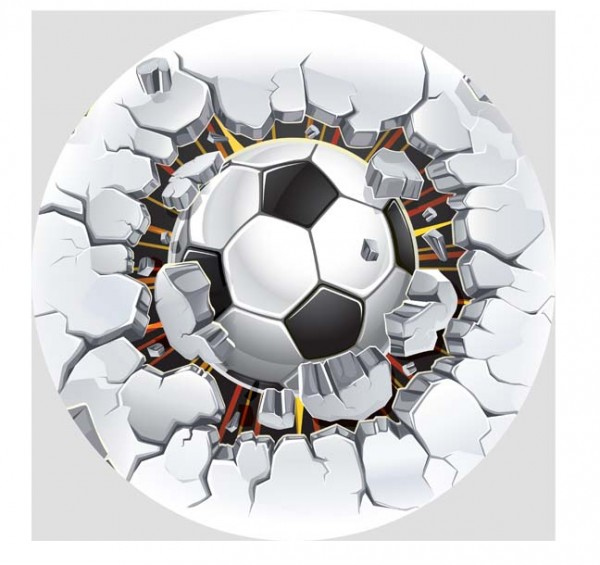 Essbarer Tortenaufleger Fußball Power
