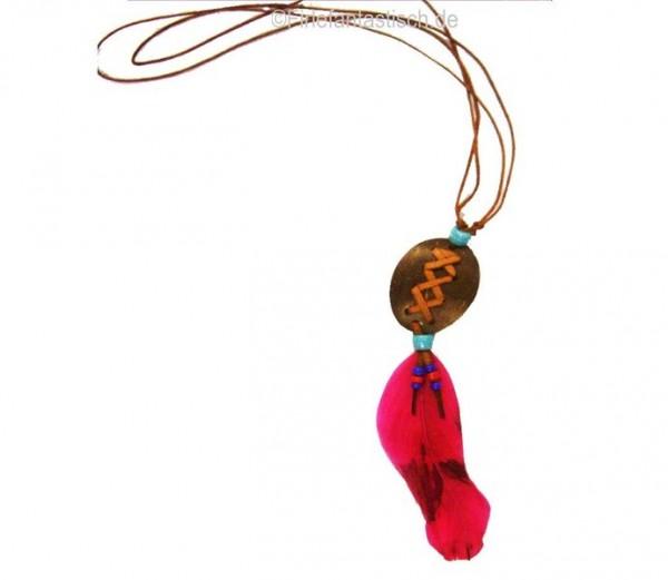 Indianer-Amulett-Kette rosa