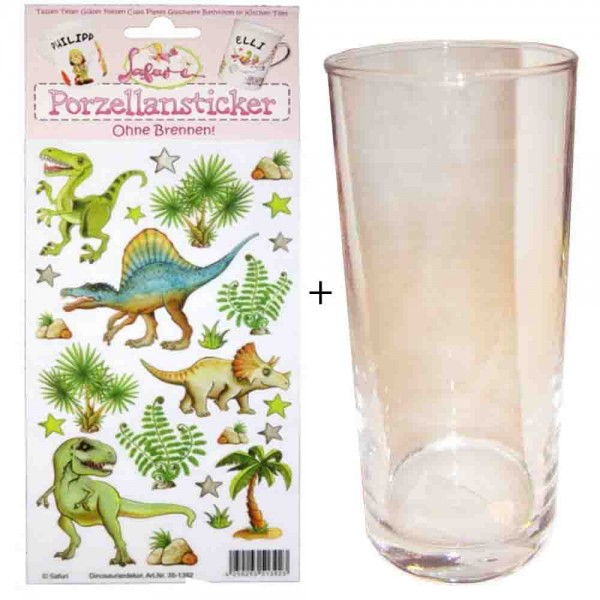 Porzellan-Sticker Dinosaurier + Trinkglas