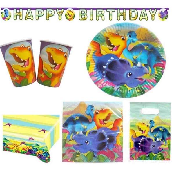 Komplettes Partyset für den Kindergeburtstag Dinosaurier