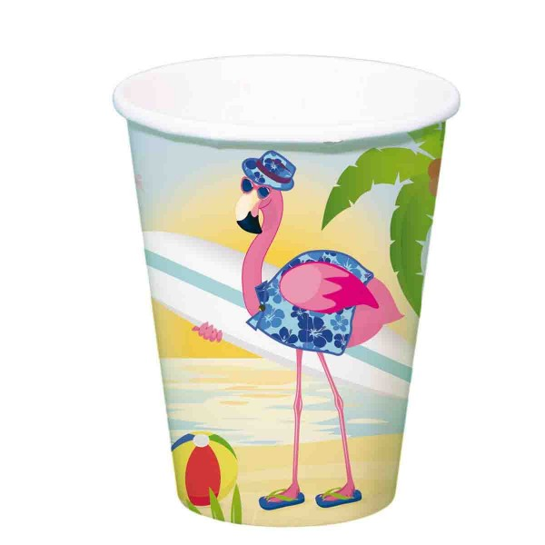 Bunte BEcher für die Hawaii Party