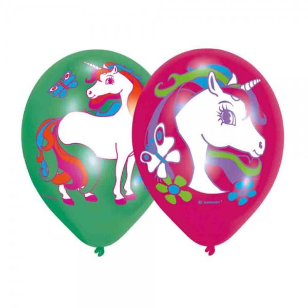 Das Fabelwesen Einhorn auf bunten Luftballons